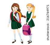 schoolgirls  | Shutterstock .eps vector #216764971