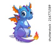cute blue cartoon dragon with... | Shutterstock .eps vector #216771589