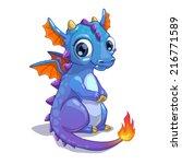 Cute Blue Cartoon Dragon With...
