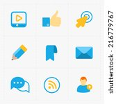 modern colorful flat social... | Shutterstock .eps vector #216779767