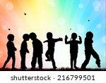 children silhouettes | Shutterstock .eps vector #216799501