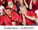 fans  man booing umpire after...   Shutterstock . vector #216815371
