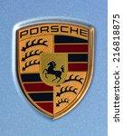 Постер, плакат: Porsche emblem on blue