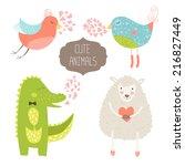 cute animals collection. vector ... | Shutterstock .eps vector #216827449