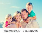 portrait of happy family of...   Shutterstock . vector #216830995