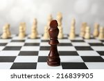 chess board with chess pieces...   Shutterstock . vector #216839905
