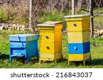 Blue And Yellow Beehives In...