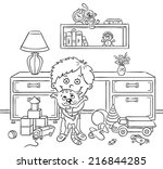 little boy in his playroom... | Shutterstock .eps vector #216844285