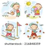 little boy's activities during... | Shutterstock .eps vector #216848359