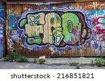 beautiful street art graffiti.... | Shutterstock . vector #216851821