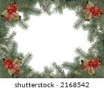 Christmas framework made of spruce branches and decoration - stock photo