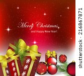 christmas and new year greeting ... | Shutterstock .eps vector #216867871