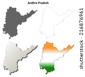 Andhra Pradesh blank detailed outline map set - vector version