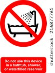 do not use this device in a... | Shutterstock .eps vector #216877765