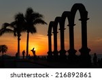 sunset at the los arcos puerto... | Shutterstock . vector #216892861