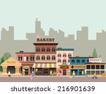 set of buildings in the style... | Shutterstock .eps vector #216901639