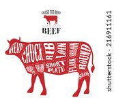 vector beef cuts diagram in... | Shutterstock .eps vector #216911161