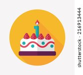 birthday cake flat icon with... | Shutterstock .eps vector #216913444