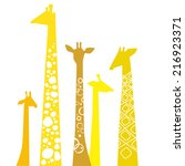 cute giraffes. vector... | Shutterstock .eps vector #216923371