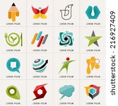 Logos and Abstract web Icons and globe vector identity symbol. Set of icons and stickers for sport , education, food and communication. Graphic design easy editable for Your design.