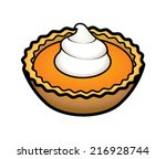 a pumpkin tartlet with a pipped ... | Shutterstock .eps vector #216928744