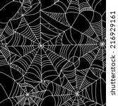 Halloween spider web seamless pattern. Vector background. Black and white.