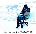 business woman with touch... | Shutterstock .eps vector #216943597