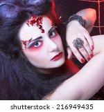 halloween. black widow. young... | Shutterstock . vector #216949435
