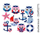 cute nautical owls in blue ... | Shutterstock .eps vector #216952771