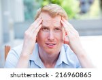 closeup portrait  stressed... | Shutterstock . vector #216960865