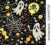 seamless halloween pattern with ... | Shutterstock .eps vector #216965719