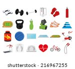 a set of fitness related... | Shutterstock .eps vector #216967255