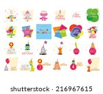 a set of birthday backgrounds... | Shutterstock .eps vector #216967615