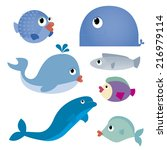 abstract cute water animals on... | Shutterstock .eps vector #216979114