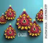 vector diwali diya  oil lamp . | Shutterstock .eps vector #216986359