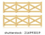 A Set Of Wooden Fence. Isolate...
