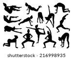 sport silhouettes of women | Shutterstock .eps vector #216998935