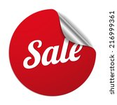 Red Round Sale Sticker On Whit...