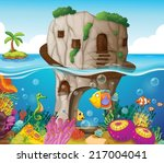 illustration of a cave and... | Shutterstock .eps vector #217004041