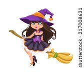 Halloween Witch Girl On A...