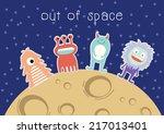 monster cartoon in the space   Shutterstock .eps vector #217013401