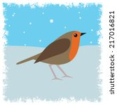Robin Red Breast On Snow