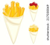 french fries paper cones | Shutterstock .eps vector #217030069