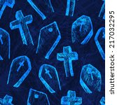 halloween seamless   blue... | Shutterstock .eps vector #217032295