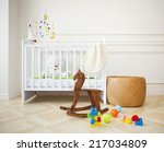 Empty Nursery Room With Basket...