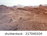 two mountain bikers in the...   Shutterstock . vector #217040104