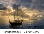 fishing sea boat and sunrise... | Shutterstock . vector #217042297