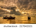fishing sea boat and sunrise... | Shutterstock . vector #217042321