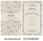 invitation card with flowers in ... | Shutterstock .eps vector #217048585