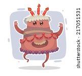 happy birthday cake  vector | Shutterstock .eps vector #217051531